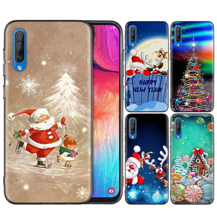 Black Silicone Case Cover for Samsung Galaxy A7 A9 2018 A10 A20 A30 A40 A50 A60 A70 A80 A20E A10E A10S Coque Capa Christmas Deer