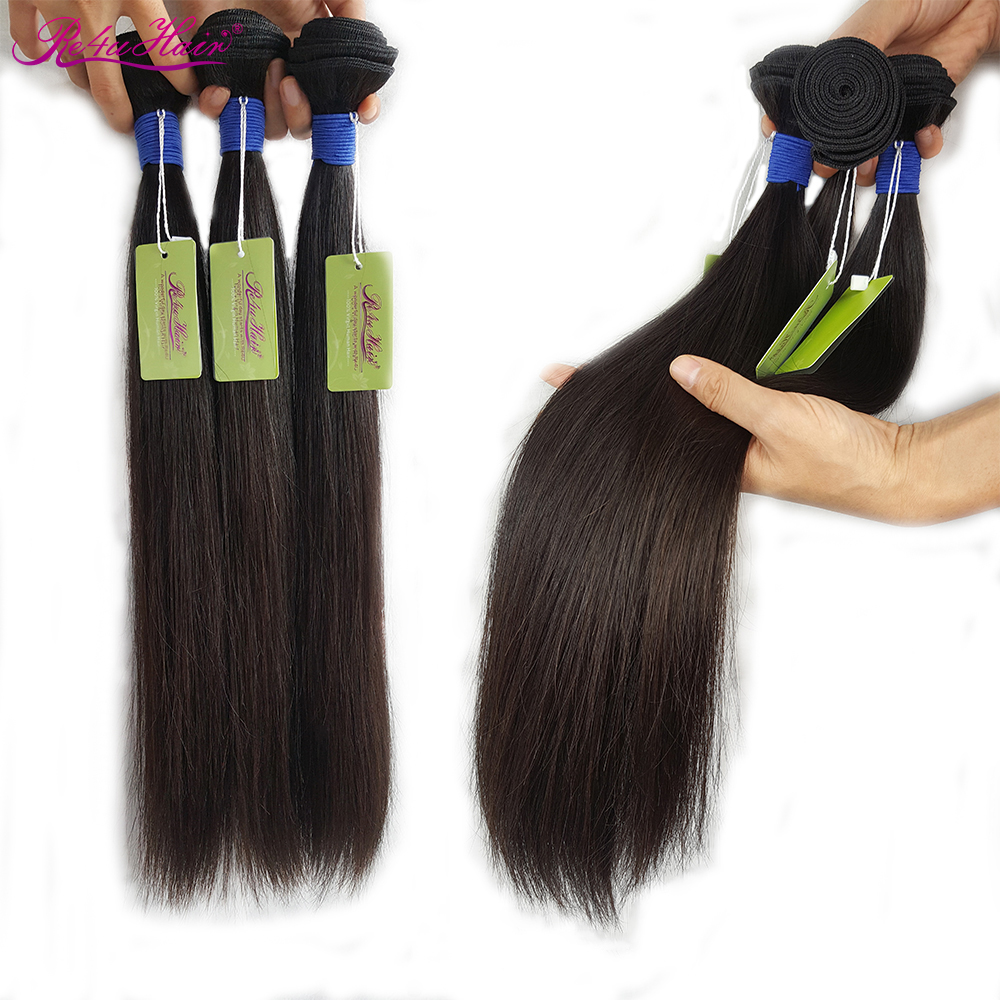 Indian Wave Bundles Straight 30 Inch Bundles Unprocessed Virgin Hair 3 Bundles Re4U No Silicone One Donor Hair