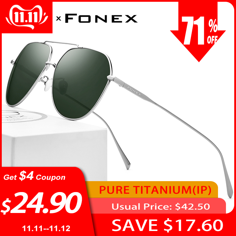 FONEX Pure Titanium Polarized Sunglasses Men Brand Design Square Sun Glasses For Men 2019 New Driving Outdoor UV400 Shades 8506