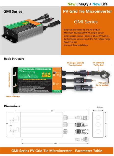 MPPT солнечная сетка микро Инвертор 350 Вт 300 Вт 260 Вт GMI серия Солнечная Чистая Синусоидальная волна вход 18 в-50 В постоянного тока выход 110/220 В IP 65