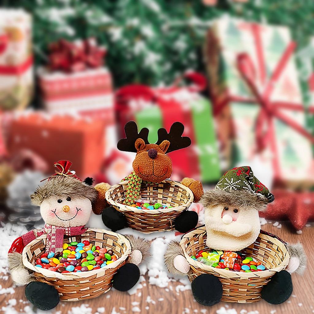Рождественская корзина для хранения конфет подарки украшение Санта Клаус Конфеты мешок ботинок для конфет контейнер рождественские домашние вечерние украшения стола