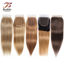 Bobbi коллекция цвет 8 пепельный блонд прямые 4х4 кружева Закрытие индийские не-Реми человеческие волосы Омбре медовый блонд темно-коричневый цвет 4