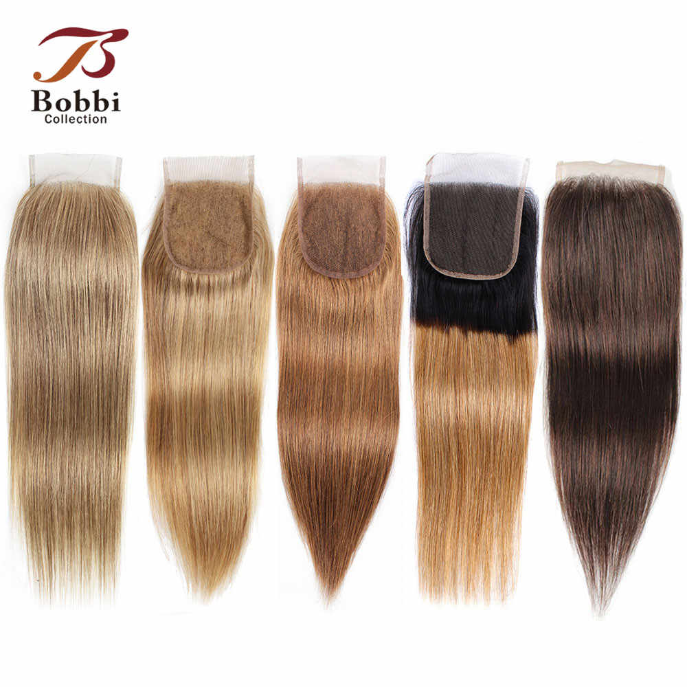 Bobbi Collection Kleur 8 Ash Blond Straight 4X4 Vetersluiting Indian Non-Remy Human Hair Ombre Honing blond Donker Bruin Kleur 4