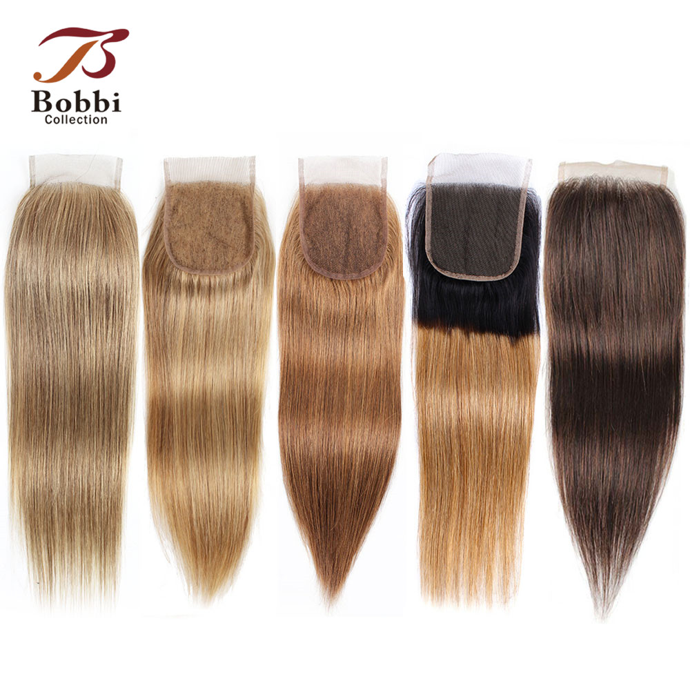 Bobbi Collection Color 8 Ash Blonde Straight 4x4 Lace Closure Indian Non-Remy Human Hair Ombre Honey Blonde Dark Brown Color 4