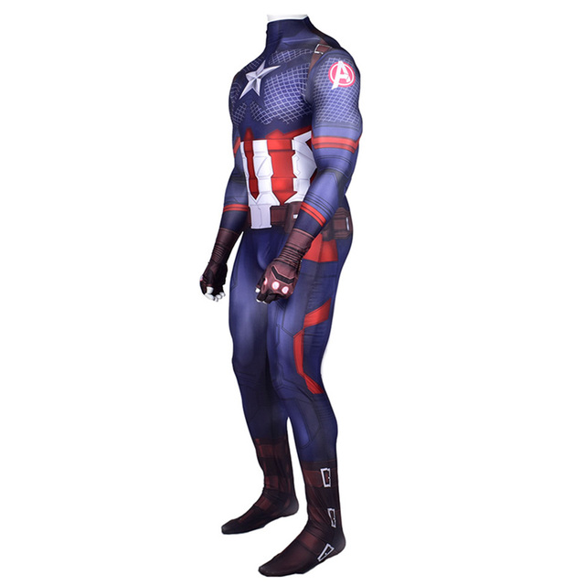 Captain America Cosplay Costume Zentai Superhero Bodysuit Adults Kids Digital Printing One Piece Jumpsuits