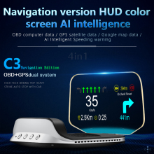 Hud Auto Head Up Display Met Obd Hd Gps Navigatie Bluetooth Voorruit Snelheid Projector Security Alarm C3