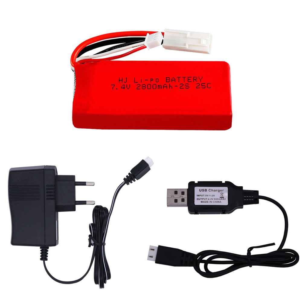 7.4V <font><b>2800mAh</b></font> <font><b>Lipo</b></font> Battery with USB Charger For FT009 2.4G Remote Control Boat speed boat Battery RC toy accessories 7.4V 25C <font><b>2S</b></font> image