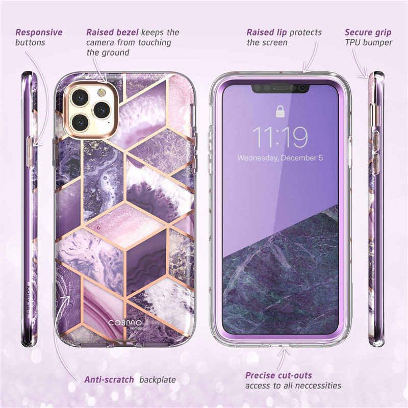"Aku-Blason untuk iPhone 11 Pro Case 5.8 ""(2019) cosmo Full-Body Shinning Glitter Marmer Bumper Case dengan Built-In Screen Protector"