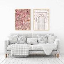Vintage alfombra Rosa arte impresiones Boho decoración de pared cartel ecléctico, antigua puerta Puerta Marroquí arte lienzo pintura ilustraciones cuadros
