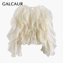 Элегантная шифоновая блузка galcaur в стиле пэчворк с оборками