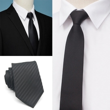 X5XE Mens Uniform Black Polyester Neck Tie Striped Plaid Jacquard Pattern Necktie