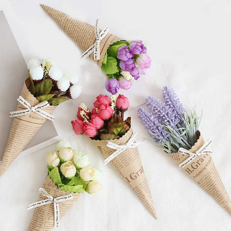 Fashion Mini Paper Tube Artificial Dried Flowers Pure And Fresh Photo Props Wedding Birthday Decor Present Bouquet Accessories