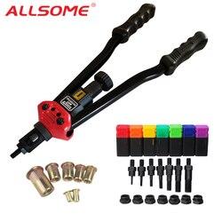 ALLSOME BT-607 инструмент для заклепок ручной Клепальщик заклепочный пистолет с 7 метрическими оправками 70 шт. Rivnuts