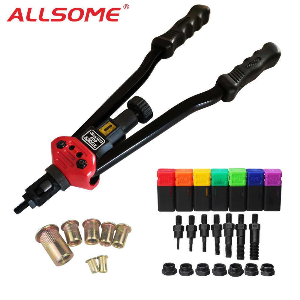 ALLSOME BT-607 RIVET NUT TOOL Hand Blind Riveter Hand Riveter Rivet Gun With 7 Metric Mandrels 70pcs Rivnuts