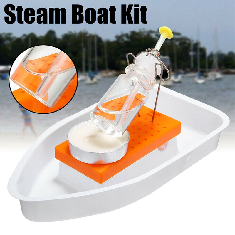 Steam Candle Powered Speed Boat Toy Handmade Steamships Physics Science Experimental Equipment DIY Assembly Tool Kits