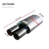Jzz silenciador de tubo de escape  silenciador universal 2.5 ''em aço inoxidável 201 preto para carro com desempenho alto e som 3'' com saída dupla turbo bicos para bocais