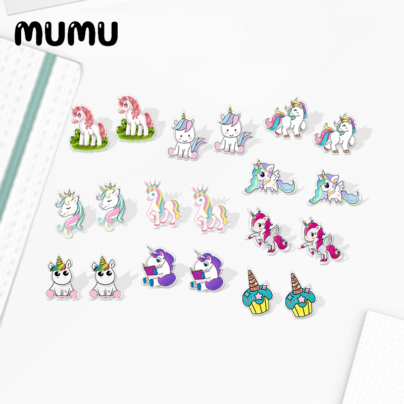2020 New Cute Unicorn Stud Earring Cartoon Animal Acrylic Earring Silver-color Handmade Earrings Epoxy Jewelry For Children