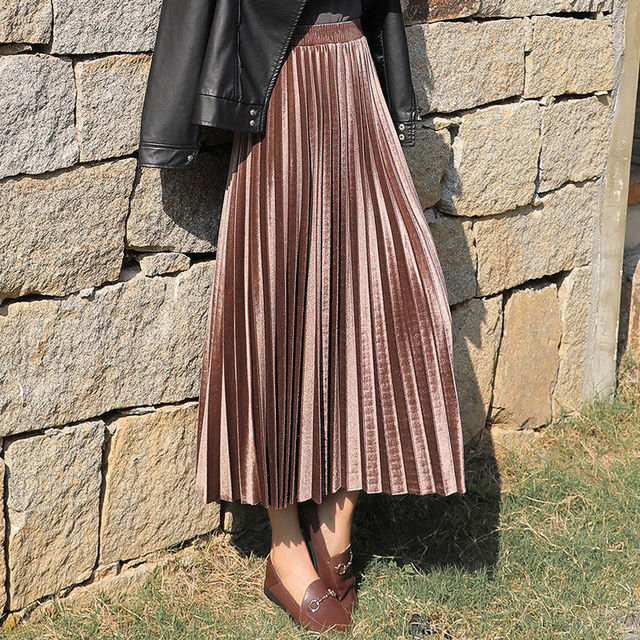 velvet Pleated skirt women's Autumn Winter Vintage black skirts womens faldas mujer moda 2019 Long Maxi High Waist Party Skirt 3
