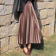 High Waist velvet Pleated skirt women Autumn Winter Vintage black skirt