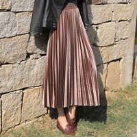 High Waist velvet Pleated skirt women Autumn Winter Vintage black skirt womens 2019 Long Silver Maxi Elascity Casual Party Skirt