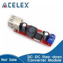 DC-DC de carga USB doble, módulo convertidor de bajada para cargador de vehículo LM2596, CC 6V-40V a 5V 3A