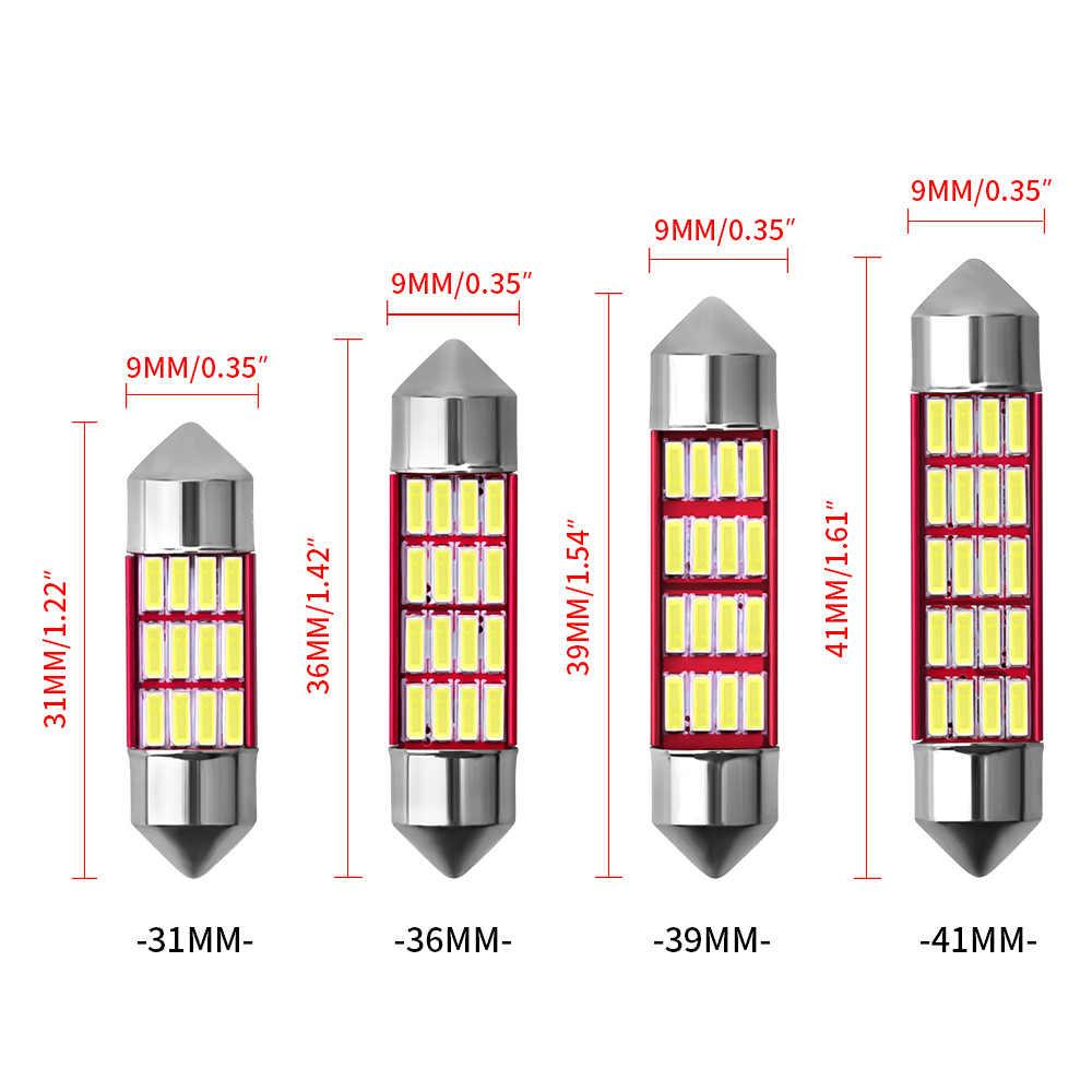 Festoon 31mm 36mm 39mm 41mm C5W C10W żarówka Doom lampa sufitowa Canbus bez błędu samochodowe żarówki do wewnętrznych Lamp samochodowych światła bagażnika biały 12V
