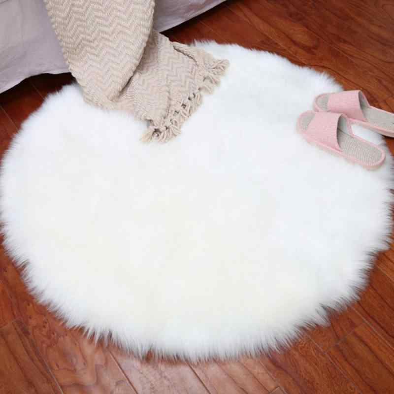 New Soft Faux Fur Wool Living Room Sofa Carpet Plush Carpets Bedroom Cover Mattress Xmas Door Window Round Carpets Rugs