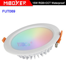 Miboxer Waterproof 15W RGB+CCT LED Downlight FUT069 Round  AC 100V-240V Dimmable wireless wifi control LED Ceiling Spotlight