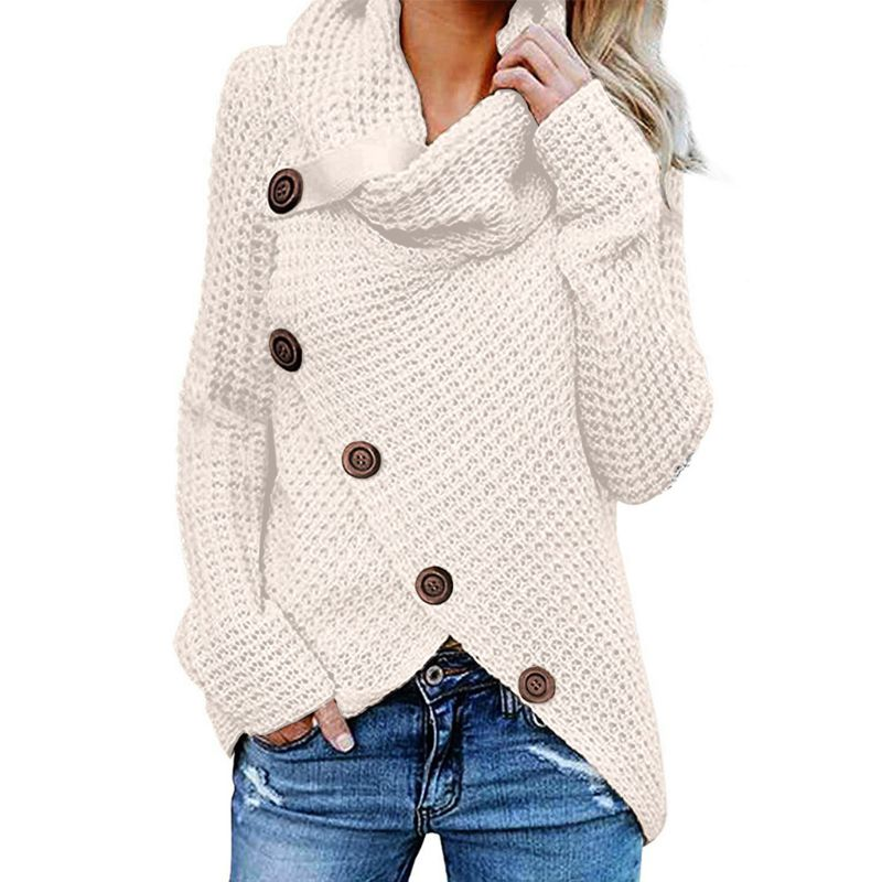 Womens Winter Autumn Long Sleeve Pullover Tops Turtleneck Oblique Buttons Waffle Knitted Irregular Hem Loose Sweatshirt