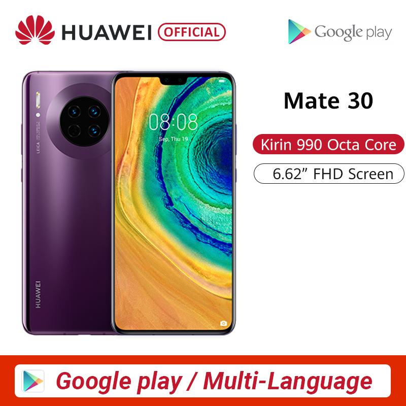Original Huawei Mate 30 Smartphone 40MP Triple Rear Cameras 6.62'' Full Screen Kirin 990 27W Wireless QC