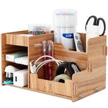Wooden Office Desk Organizer DIY Document File Multifunction Accessories Storage Magazine Book Shelf pen pencil holder