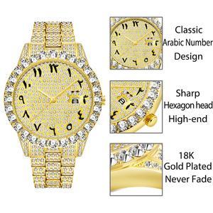 Image 2 - MISSFOX relojes con números arábigos para hombre, reloj de lujo de marca superior, oro de 18k, Diamante grande con Canlender, Reloj clásico para hombre Iced Out