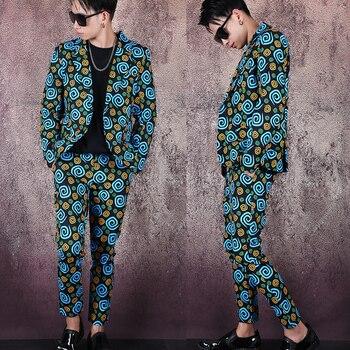 S 6XL! Мужская одежда больших размеров! Модный костюм с принтом, модный мужской костюм с курткой, индивидуальный костюм без Перми