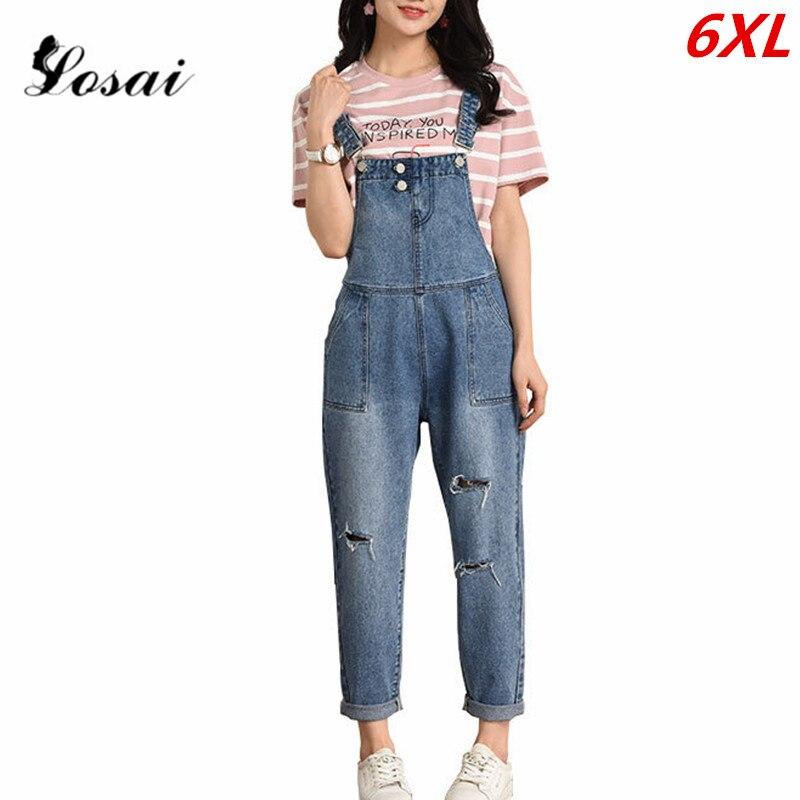 Plus Size 6XL Women Denim Jumpsuit 2019 Ladies Loose Jeans Rompers Female Casual Hole Denim Jumpsuits Boyfriend Overall Bodysuit