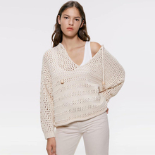KIYUMI Knitted Sweater Women Hollow Out Sweater For woman 2019 Autumn Long Sleeves V-neck Lace Up Pullovers Loose Beige Sweaters army green lace up knit long raglan sleeves sweater