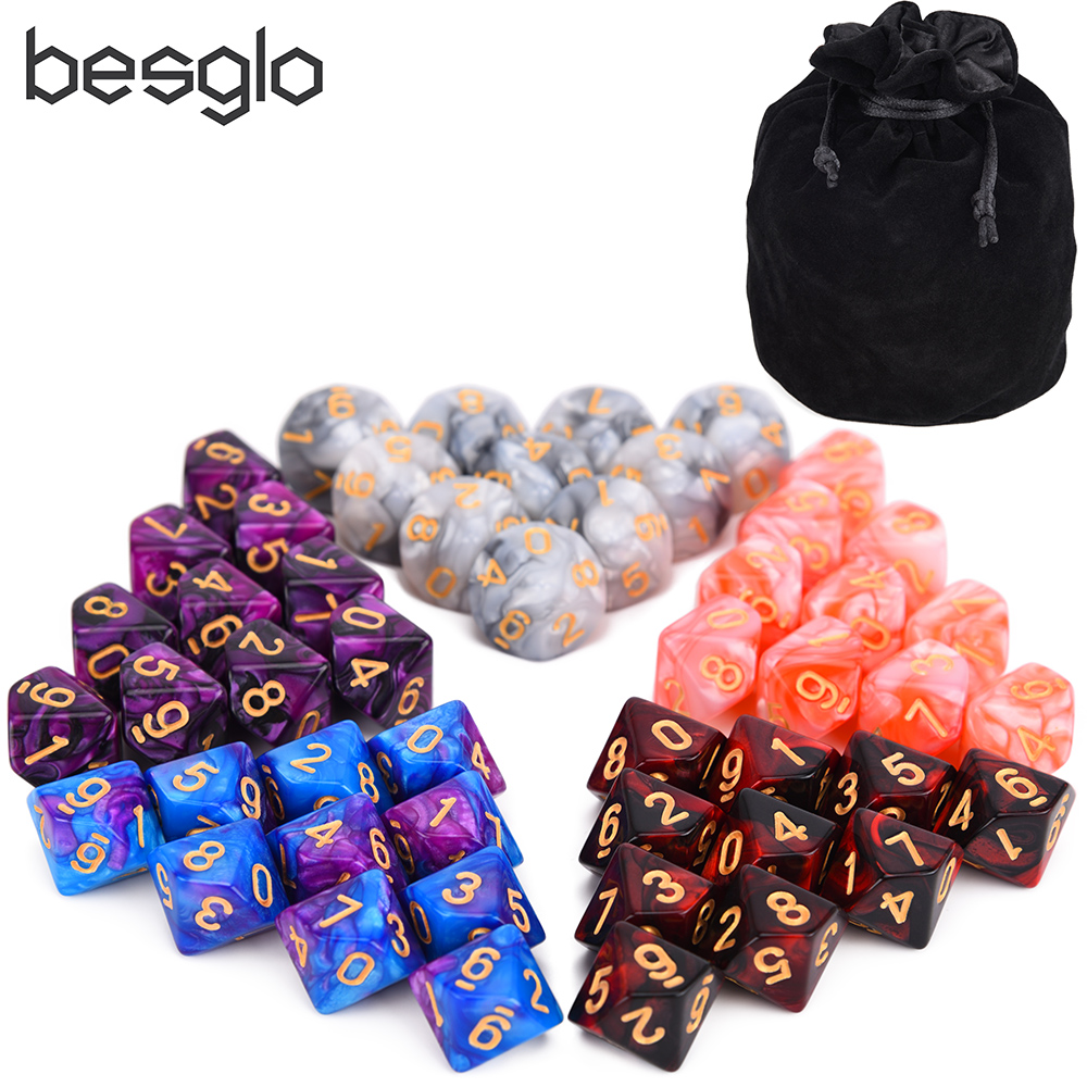 50pcs D10 Double Color Dice With Big Dice Pouch Compatible For Tabletop RPG World Of Darkness Vampire 5 Sets Of 10D10