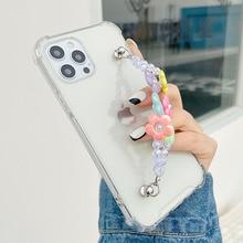 Handgelenk Kette Fall für iPhone 12 Pro 6 7 8 Plus SE XR Xs Max Transparent Fällen Nette Perlen blume kette Hängen Fall für iPhone 11