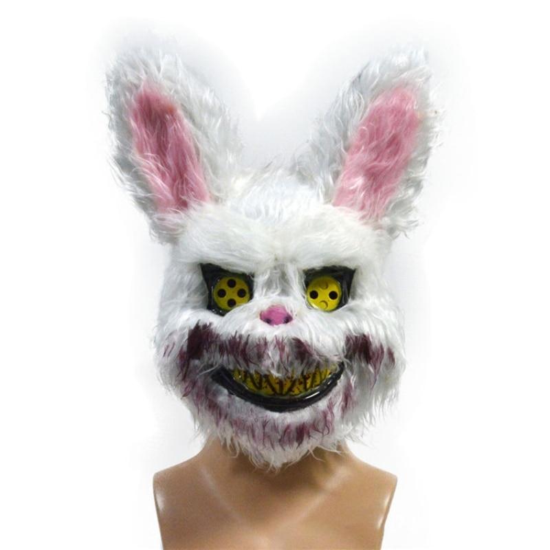 Halloween Mask Adult Halloween Party Cosplay Bloody Killer Rabbit Mask Plush Cosplay Terror Mask For Children Adult Masks