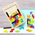 Красочная 3D головоломка, деревянная математическая игрушка танграмма, игра тетрис, детская Дошкольная Волшебная интеллектуальная обучающ...