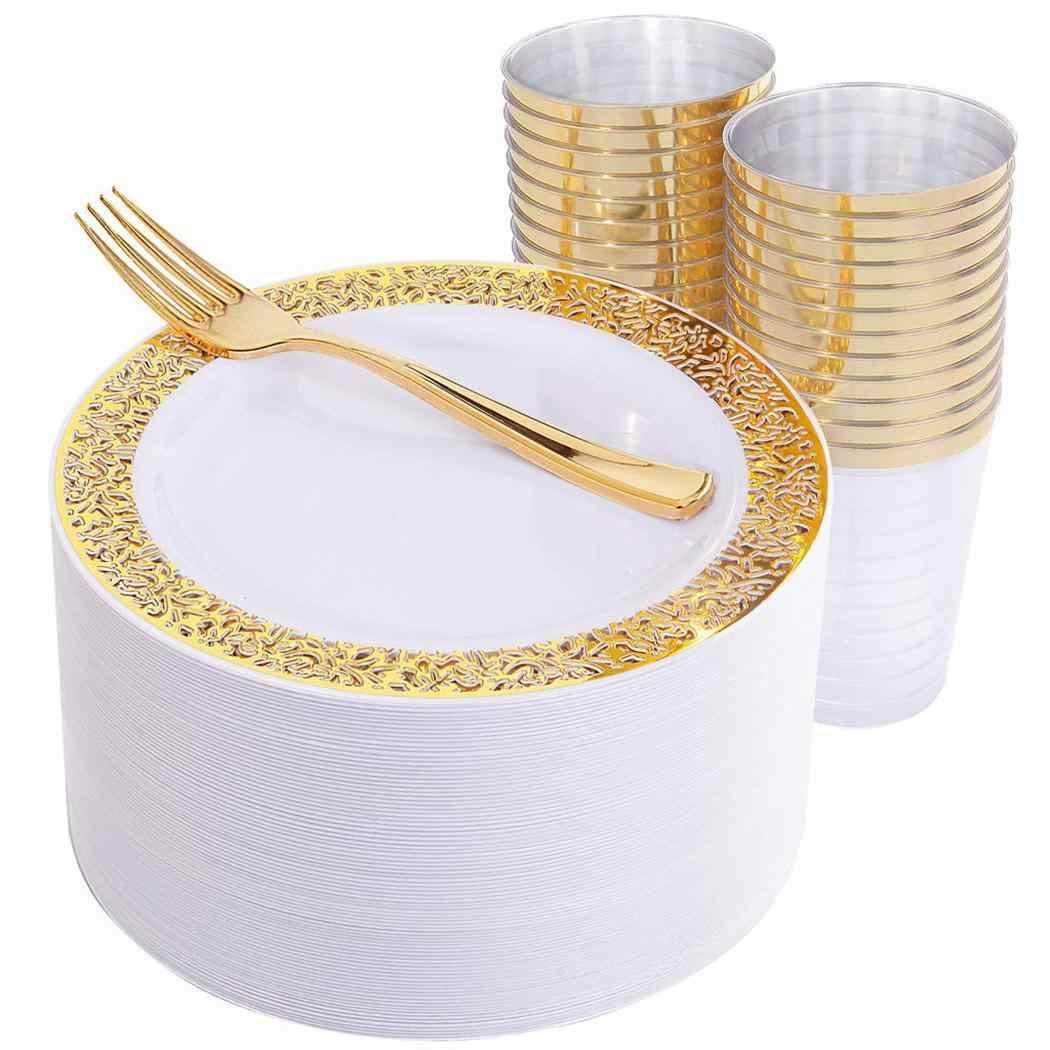 ทนทาน Hollow Wedding PARTY Disposable จานชาม 6pcs X 3pcs X สำหรับ GOLD,Rose Gold, เงินจานจานปีใหม่