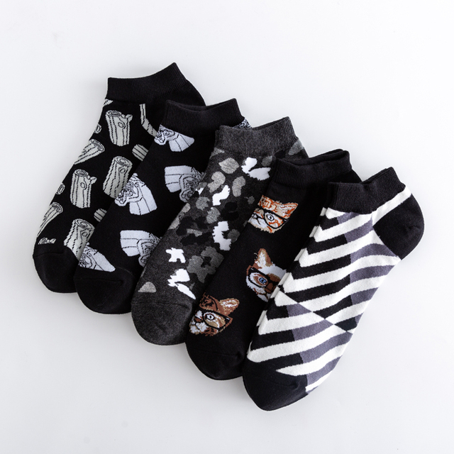 High Quality New 2020 Summer Men's Casual Novelty Ankle Socks Colorful Combed Cotton Puzzle Geometric Pattern Dress Boat Socks 3
