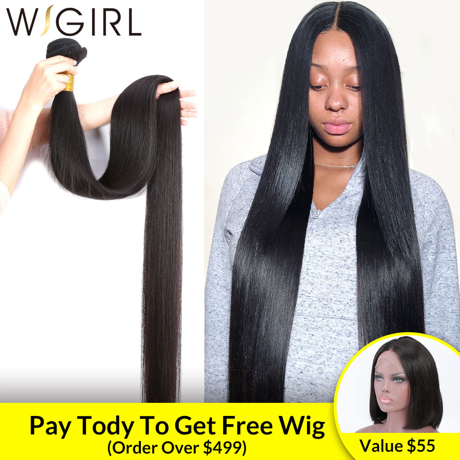 Wigirl Straight 8- 40 Inch Brazilian Remy Human Hair 1 3 4 Bundles Deals Double Drawn Unprocessed Weaving 28 30 32 Inches