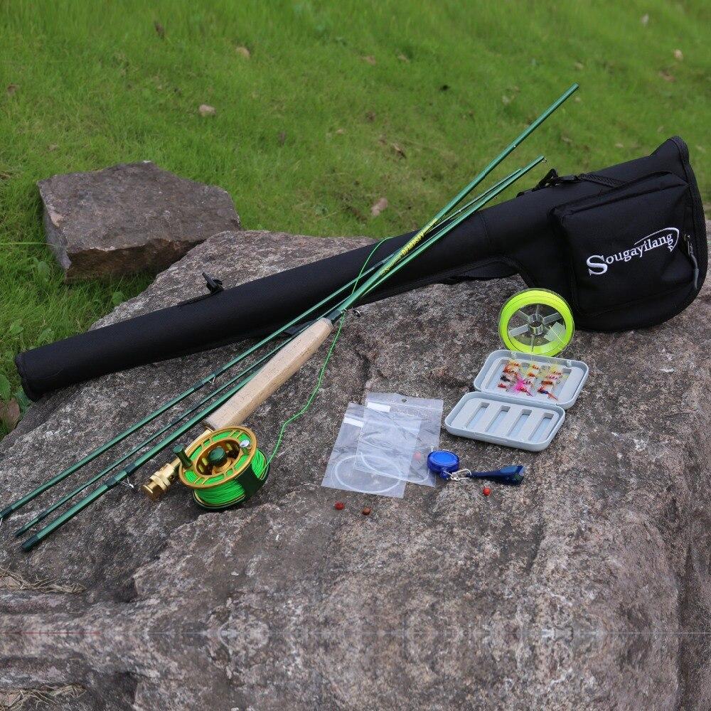 Sougayilang 2.9 M Portable Fly Hengel En 5/6 Fly Reel Combo Hengel Vis Lijn Lokken Flies Line Full accessoires Set - 6