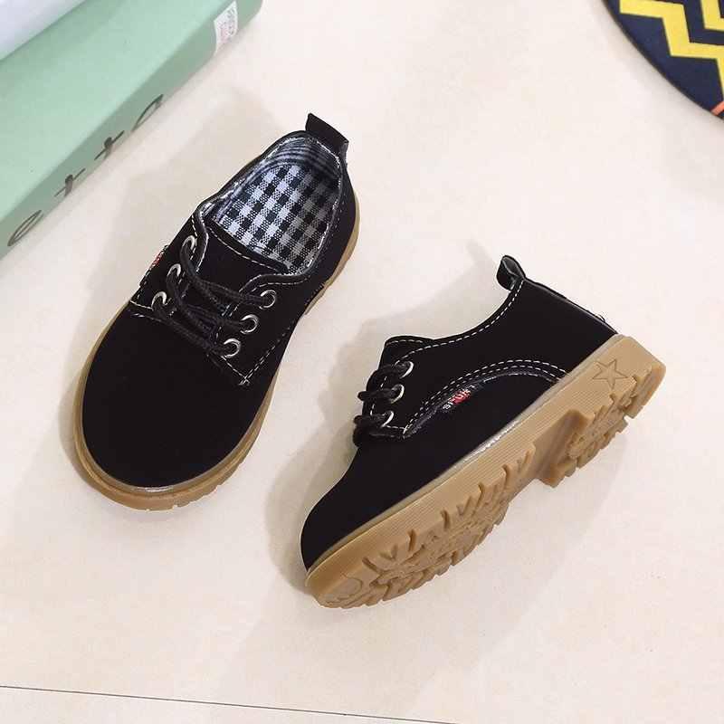 ילדים סניקרס פלטפורמת Casula נעלי בני תחרה עד אוקספורד נעלי בנות סתיו חורף ילדי תפירת נעליים אנטי להחליק דירות k224