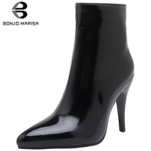 BONJOMARISA New Plus Size 30-48 Brand Patent Pu Booties Elegant Ladies Pointed Toe Ankle Boots Women 2019 High Heels Shoes Woman