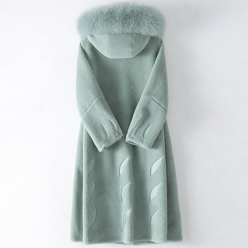 Fox Fur Collar Autumn Winter Coat Women Clothes 2020 Korean Real Fur Coat Female Wool Jacket Sheep Shearling Fur Tops ZT4879