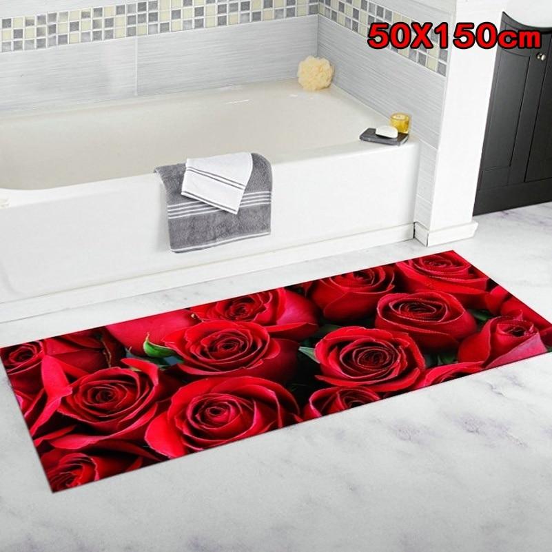 Коврик для входной двери с розовыми цветами, нескользящий коврик для пола, для гостиной, спальни, ванной комнаты, кухни
