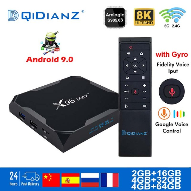 X96 Max plus Smart tv box Android 9.0 2.4G/5G Wifi Bluetooth 4.1 S905X3 Quad Core 8K Netflix Player X96max Set Top Box
