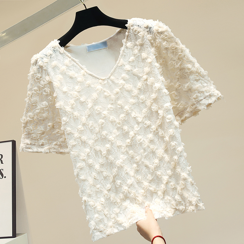 Lace Blouse for Woman Female Retro Three-dimensional Flowers Short Sleeve V Collar Shirt Women's Blouses Tops Summer Top Blusa