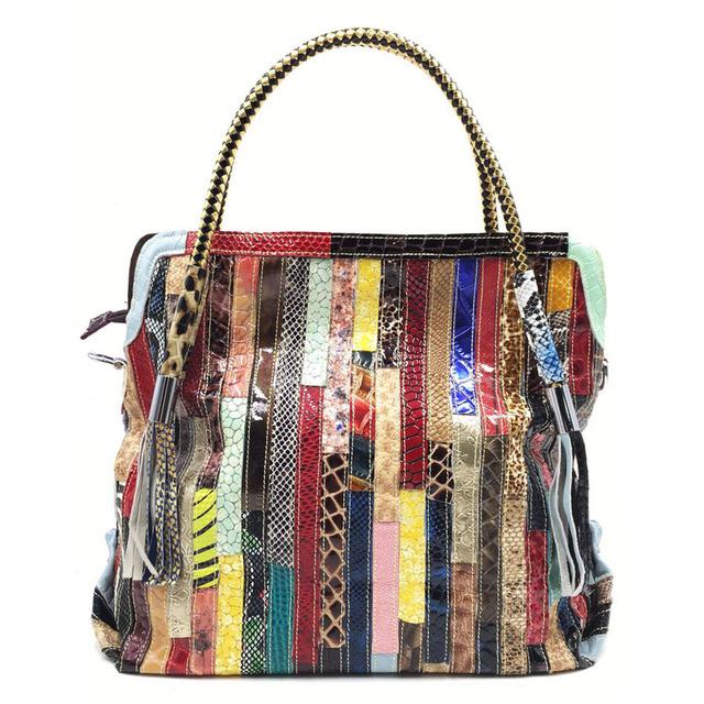 Ægte læder taske- Ko læder -Patchwork